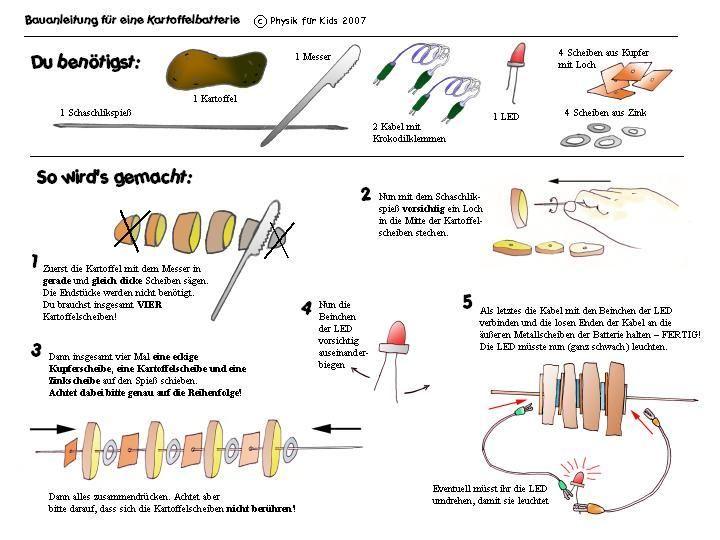 Physik für Kids -Labor- Kartoffelbatterie | experimente | Pinterest ...