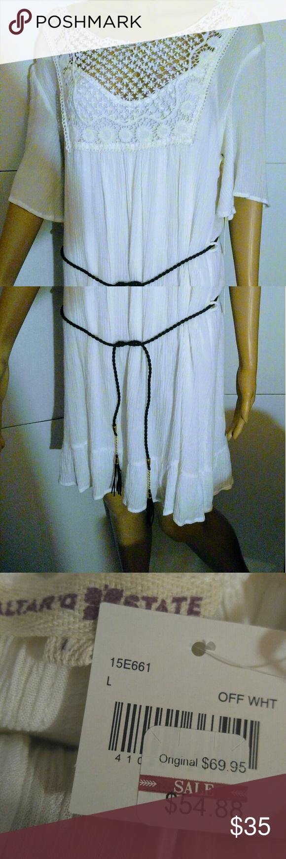 Nwt womenus dress altarud state mini white size l mini length cutout