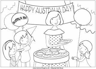Australia Day barbecue colouring page children and mother celebrate