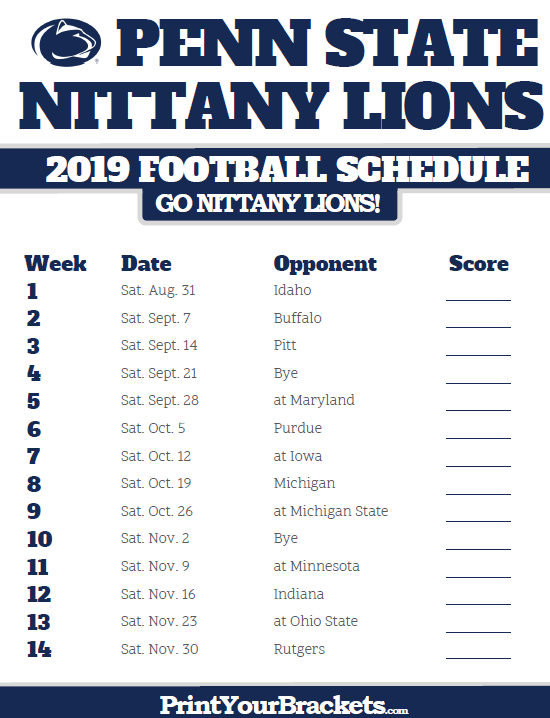 Penn State Football Schedule 2019 2019 Penn State Nittany Lions Football Schedule | Printable