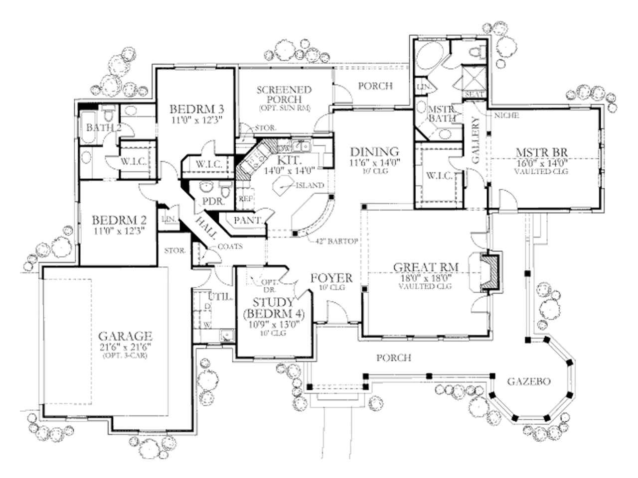 Country style house plan 4 beds baths 2184 sq ft for Texas ranch house plans with porches