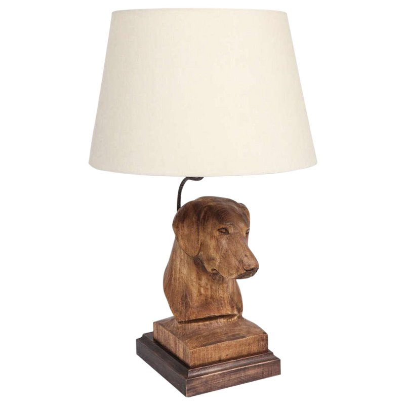 Jw Custom Line Carved Dog Lamp Dog Sculpture Linen Lamp Shades