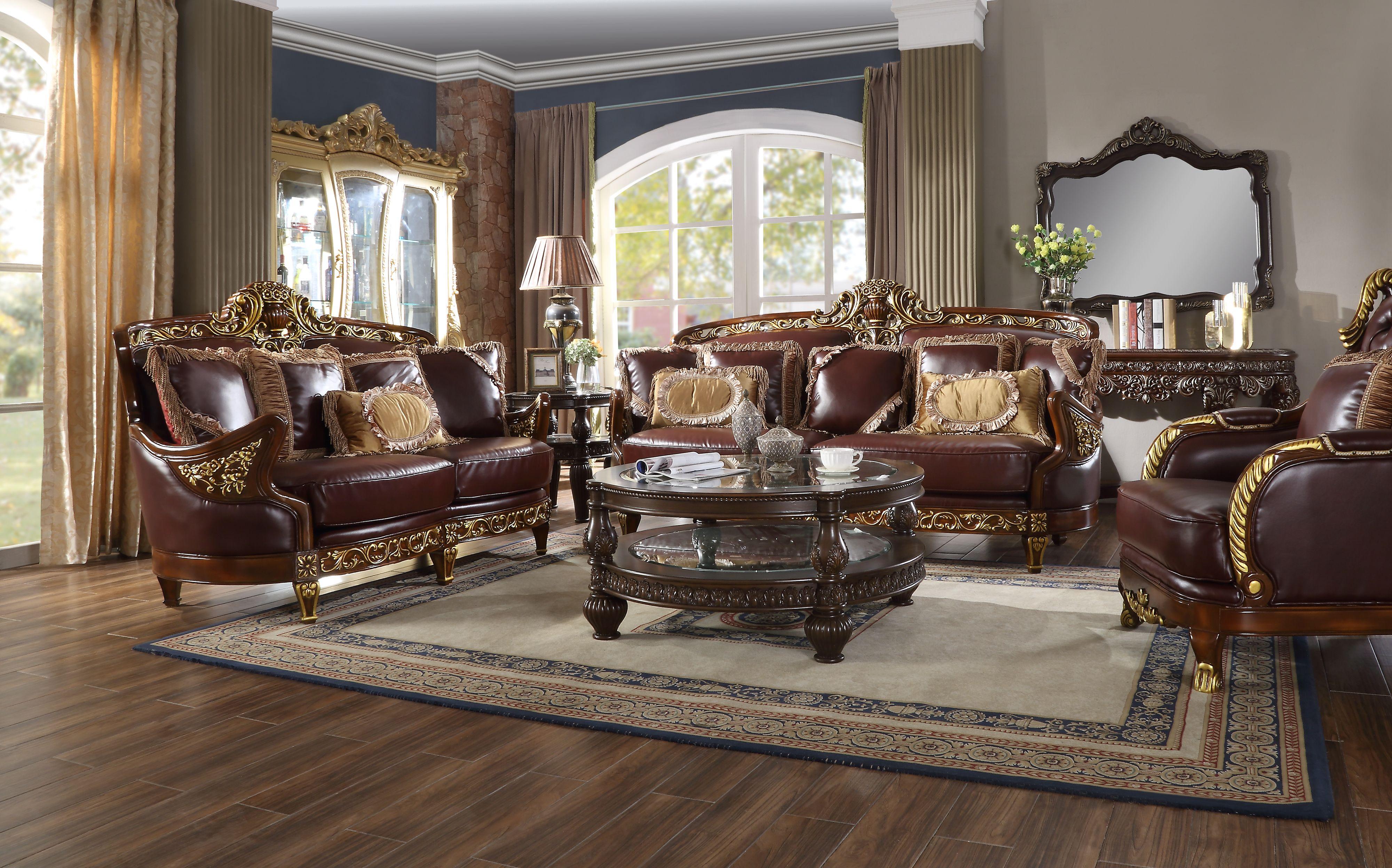 Homey Design Hd 89 3pc Sofa Set Mahogany Gold Finish Luxury Furniture In 2020 Luxury Furniture Living Room Stands Sofa Set