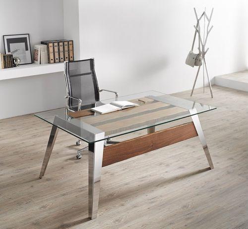 Escritorio moderno   de acero inoxidable   de cristal   de madera