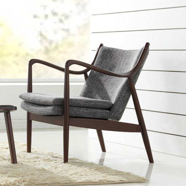 Diamond Mid-Century Modern Grey Fabric Upholstered Club Chair With  Hand-Stained Wood Base