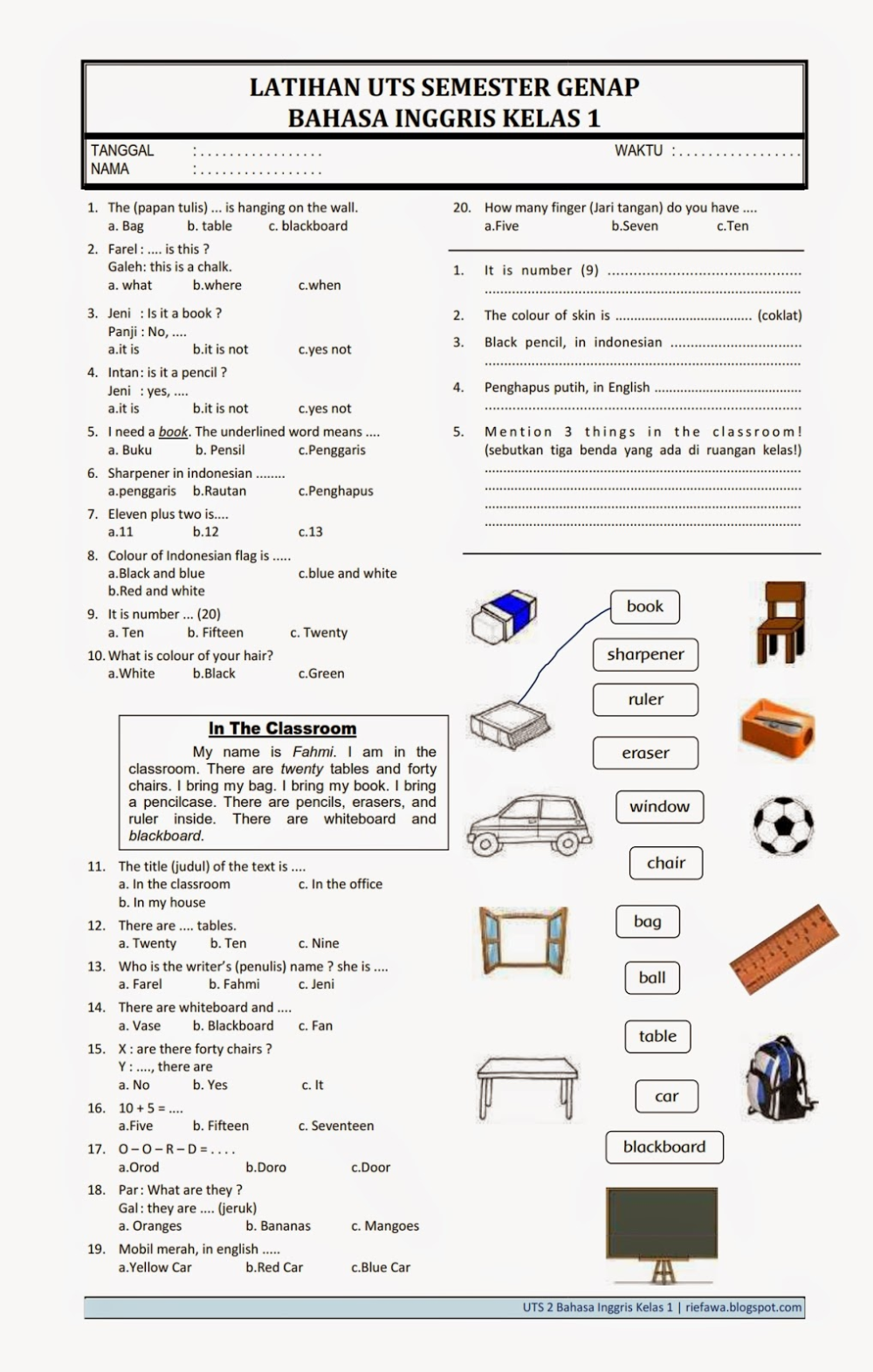 Kisi-kisi Soal Kelas 3 Sd Semester 2 : kisi-kisi, kelas, semester, Bahasa