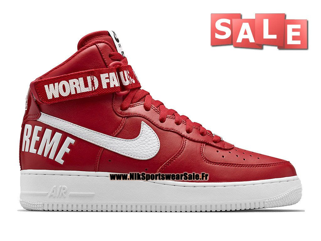 Nike X Supreme Air Force 1 High - Chaussure Nike Montante Pas Cher Pour  Homme Rouge