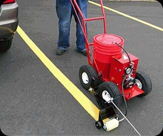 Parking lot and warehouse floor line striper premium for Parking lot painting equipment
