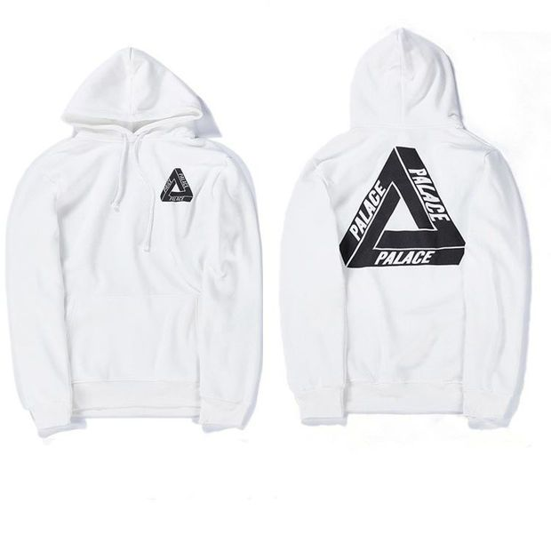 High Quality Mens Palace Skateboard Hoodie Male 100% Cotton Triangle Sweat  Palace Sweatshirt White Palace