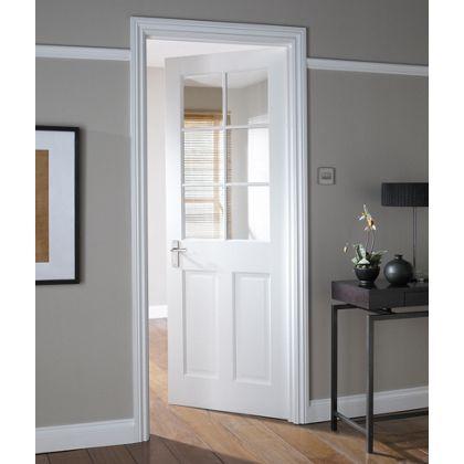 London Stile Rail 6 Light Glazed Internal Door 762mm Wide At Homebase Be Inspired And Mak White Interior Doors Glass Doors Interior Internal Glass Doors