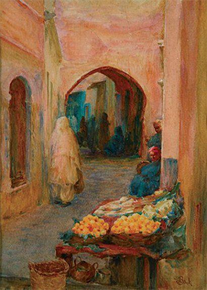 Alphonse Birck (1859-1942) « Les marchands d'oranges à la Casbah » Alger (aquarelle)
