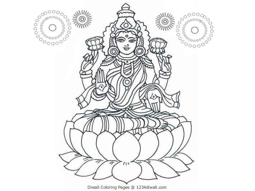 Diwali Coloring Pages Lakshmi Mata