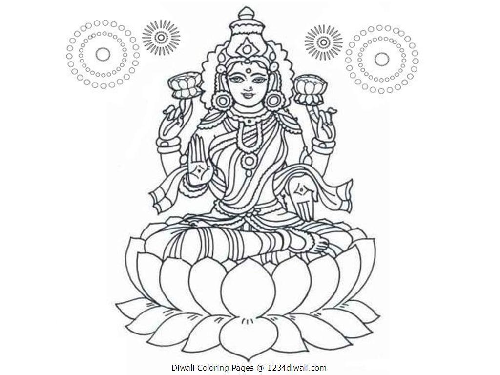 Diwali Coloring Pages Lakshmi Mata