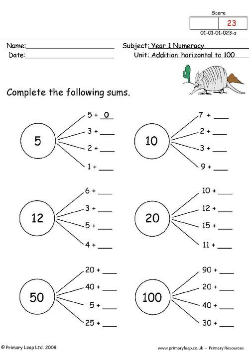 Addition Horizontal To 100 2 Worksheet Preschool Worksheets Kids Worksheets Printables Worksheets