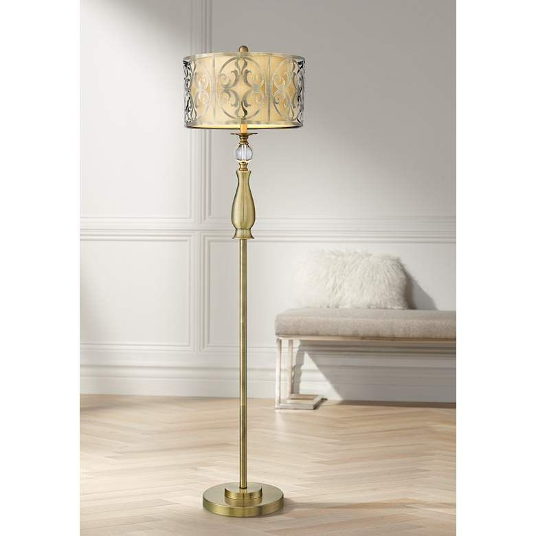 Possini Euro Doris Antique Brass Floor Lamp 66j08 Lamps Plus Stylish Floor Lamp Antique Brass Floor Lamp Floor Lamp Styles