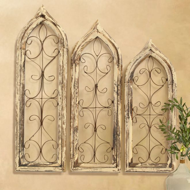 Distressed Window Wall Grilles White & Espresso (Set of 3) | Window ...
