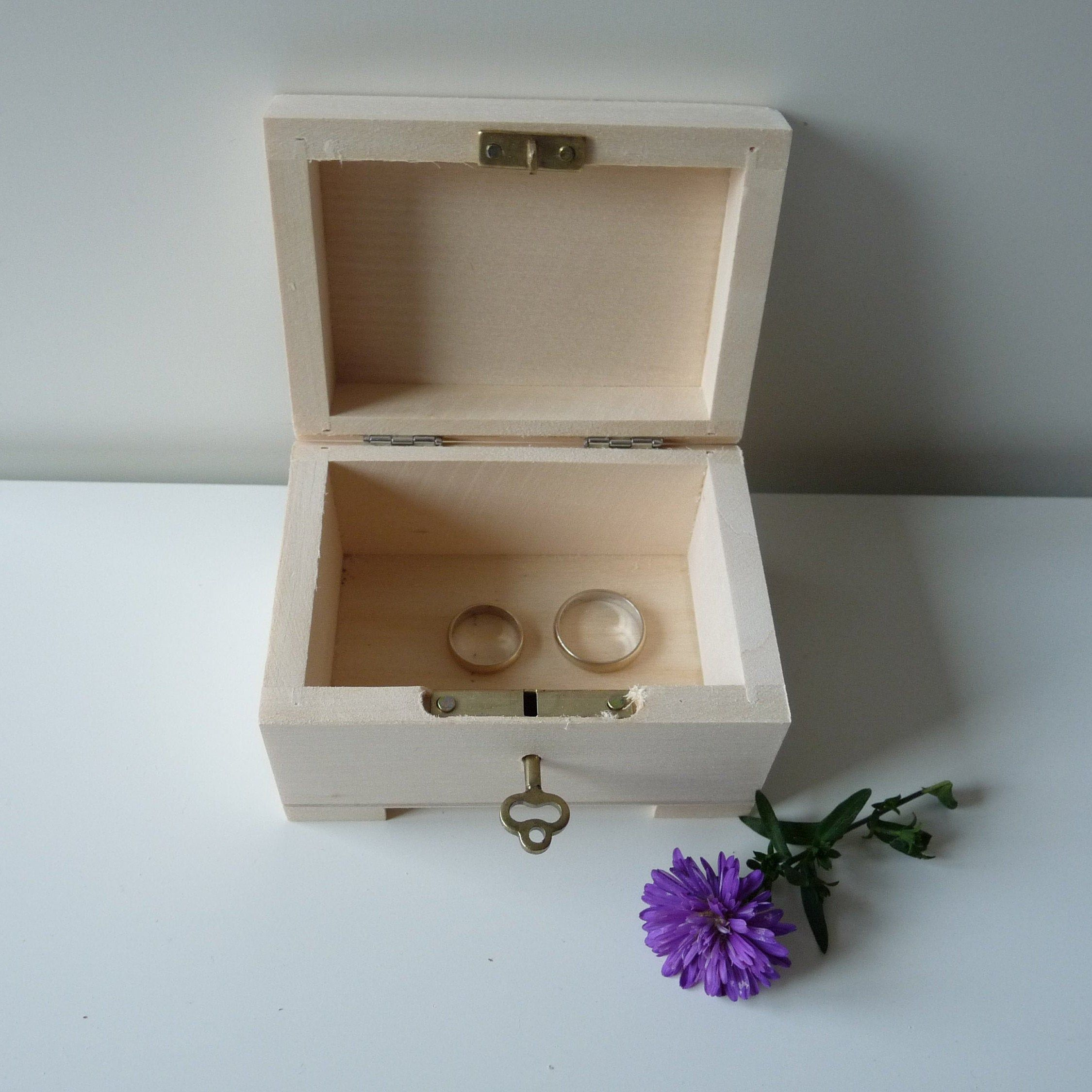 Wooden Wedding Ring Box With Key Lock Unfinished Wooden Treasure Chest With Key Unfinished Jewel Wooden Ring Box Wedding Wooden Wedding Ring Wedding Ring Box