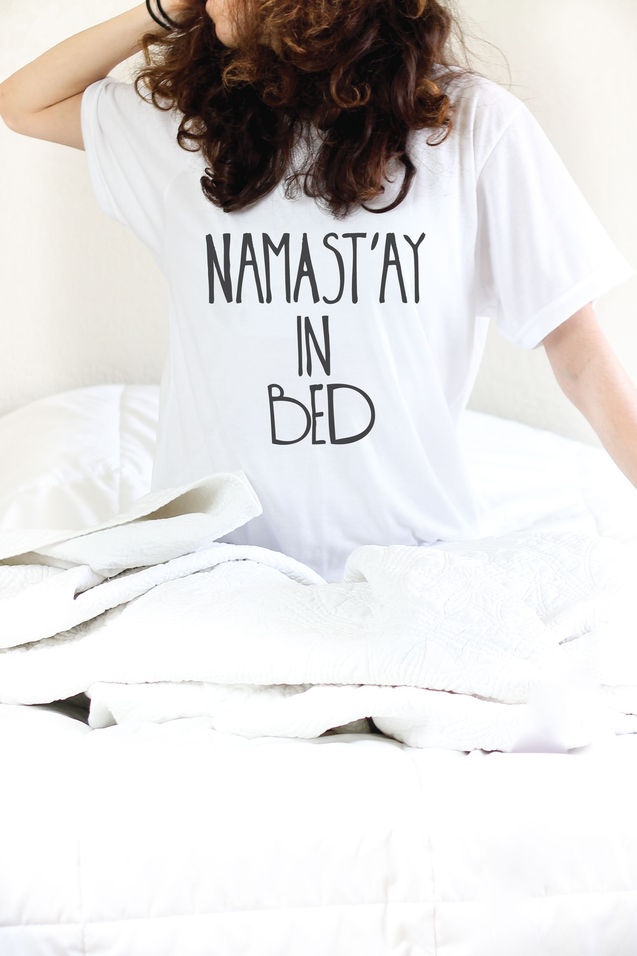 Namastay In Bed Whether you are looking for fun yoga shirts like this one  or some soulful vibed tops- this is your go to shop! ArimaDesigns.com 3f129b845