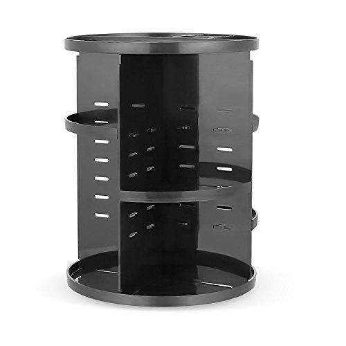 HiCollie MakeupCosmeticJewerly Organizer 360 Rotating Revolving Cosmetic Storage Tabletop Big Capacity Carousel New Stylish 2016 Black * Visit the image link more details.