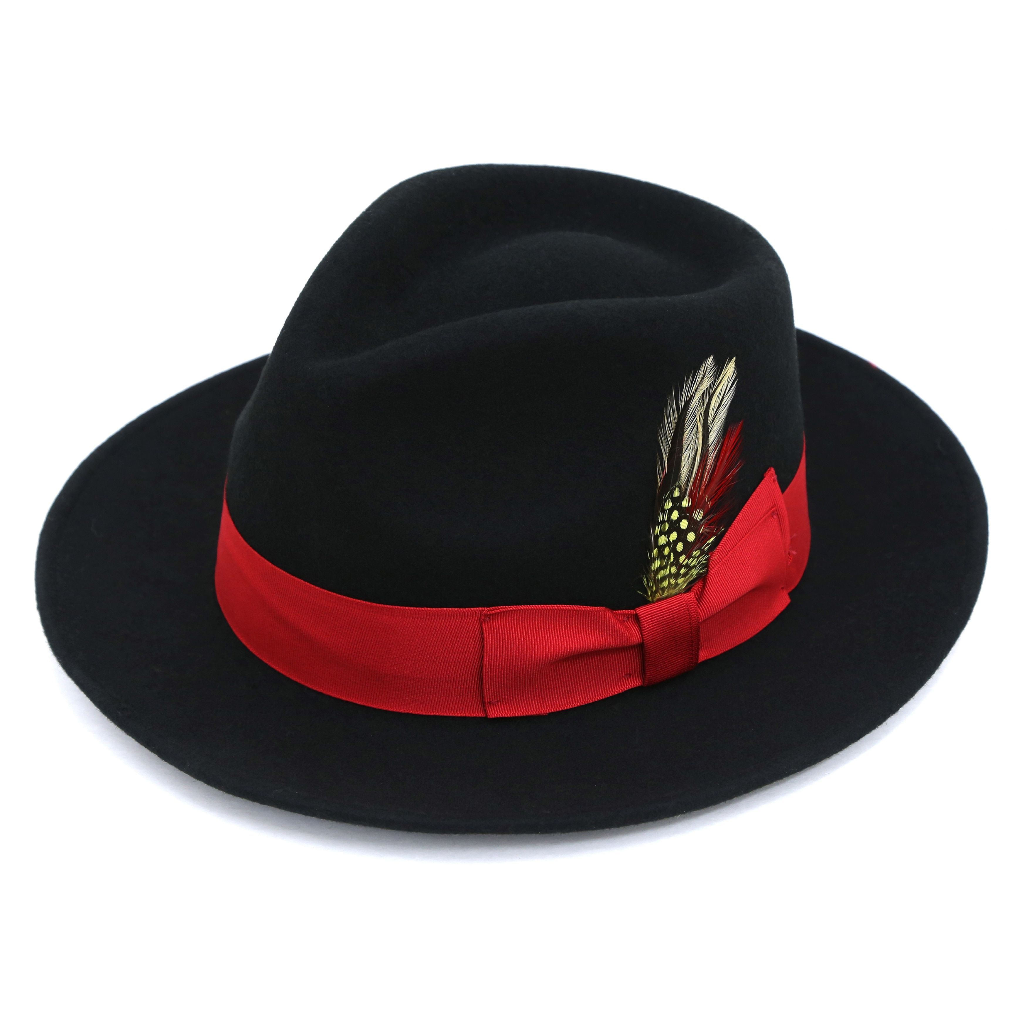 39d1c09685c Ferrecci Men s Premium Black with Red Band Wool Fully Lined Fedora ...