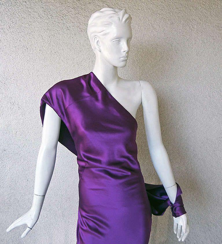 Alexander McQueen Drop Shoulder Violet Grecian Gown One shoulder ...