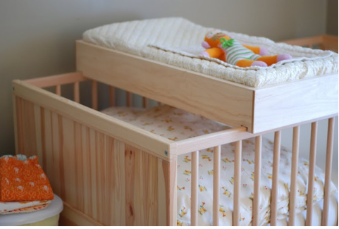 rests on the crib changing table | Baby Boy Space | Pinterest