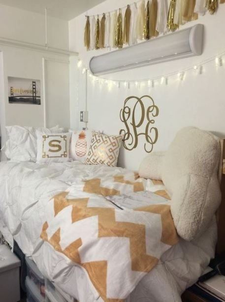 25 Preppy Dorm Rooms To Copy Dorm Room Inspiration Gold Bedroom