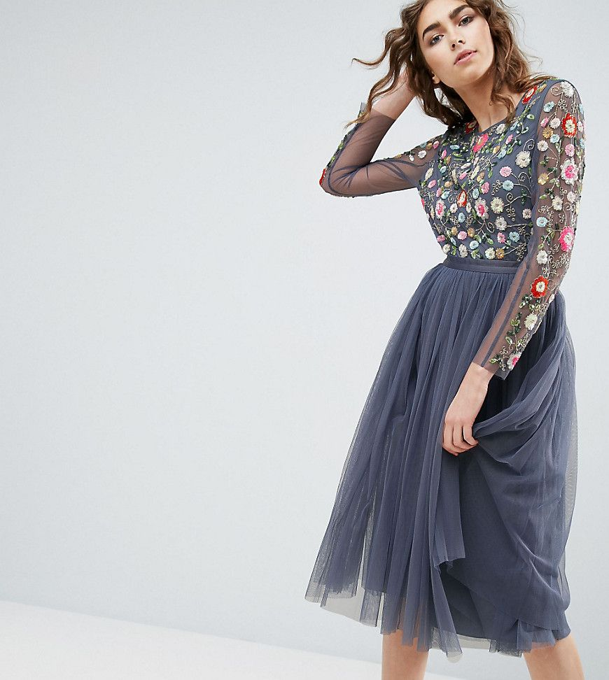 cd48848e52ee0 NEEDLE   THREAD NEEDLE AND THREAD LONG SLEEVE EMBROIDERED MIDI DRESS - BLUE.   needlethread  cloth