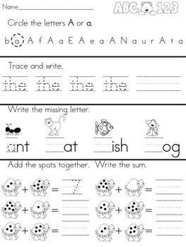 Kindergarten Morning Work - Daily Language Arts and Math ...