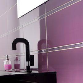 carrelage mural prune art deco salle de bain pinterest