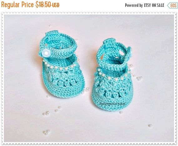 ef42ebdf032c3 Crochet Baby blue shoes Crochet baby shoes Christening Blessing ...
