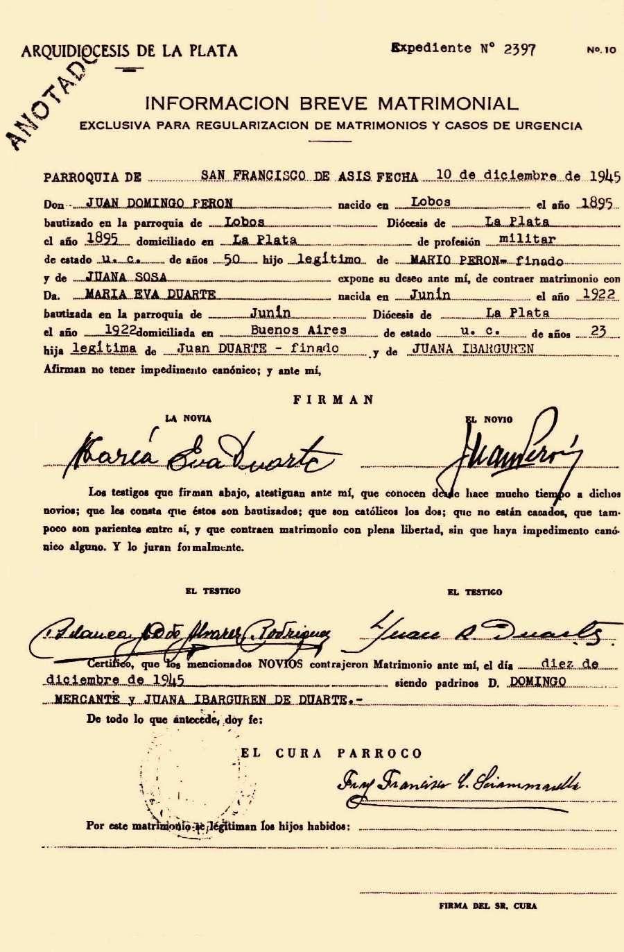 Matrimonio Catolico Sin Confirmacion : Acta de matrimonio religioso perón y eva duarte en la