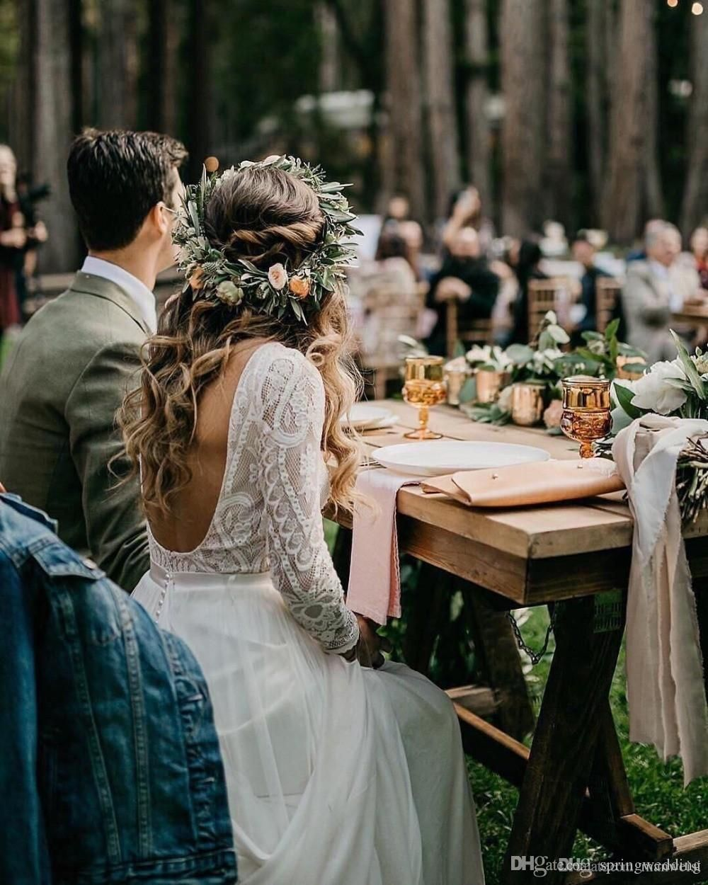 Discount Beach Bohemian Wedding Dresses Sexy Backless Long Sleeve Country Boho Bridal Gowns 2019 Custom Made Wedding Dress A Line Wedding Dresses With Lace Best Designer Wedding Dresses From Springwedding, $183.92| DHgate.Com -   15 wedding Boho hippie ideas