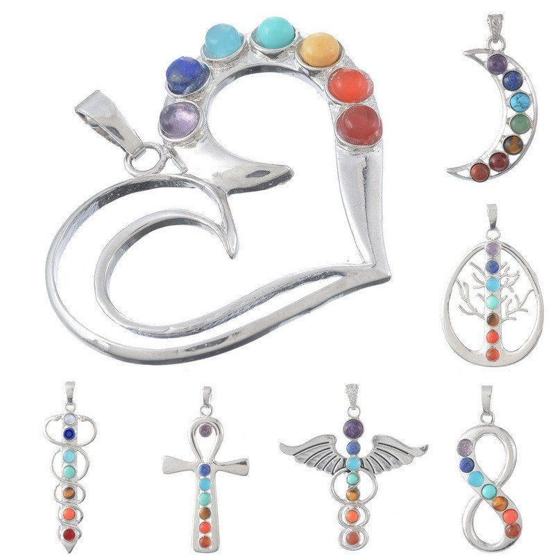Colorful Natural Semi-precious Multishape Jade Pendants Healing Point Chakra Reiki For Women Necklaces Diy Fine Jewelry 1PC