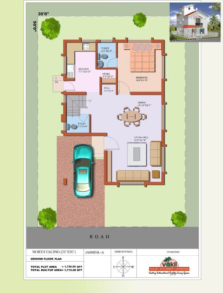 2 Bedroom Floorplan 800 Sq Ft North Facing House Plan East