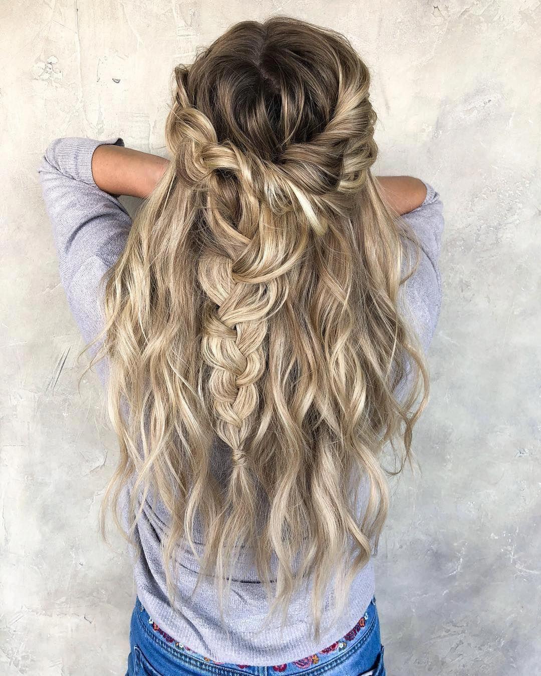 49 Boho Braid Hairstyles To Try Blonde Hair Braid Half Up Half Down Hairstyle Braids Hairstyle Boho Braided Hairstyles Half Up Hair Cool Braid Hairstyles