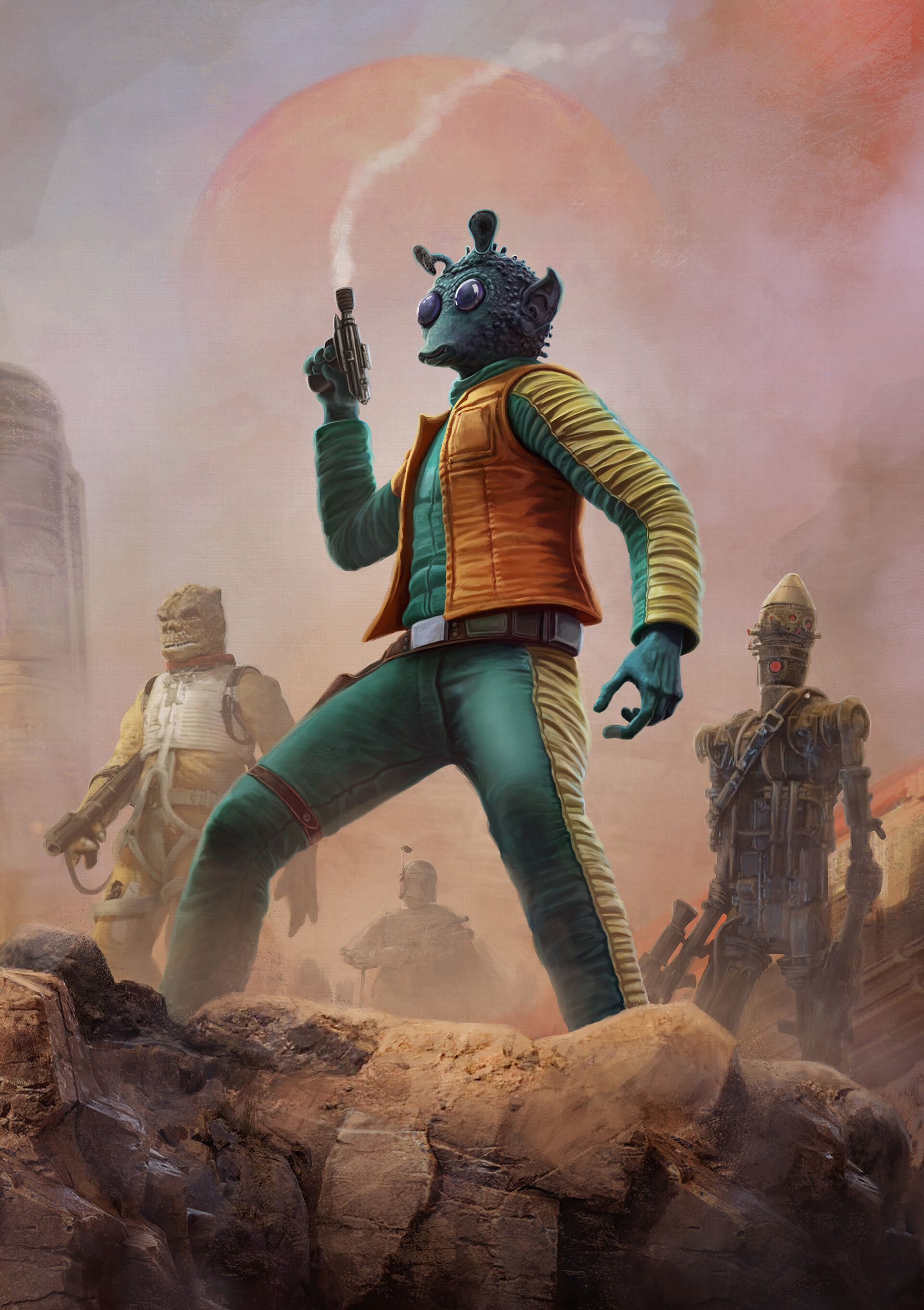 Handcrafted Oil Painting On Canvas Star Wars Greedo Bounty Hunter Wall Decor Art Etsy Star Wars Pictures Star Wars Bounty Hunter Star Wars Artwork