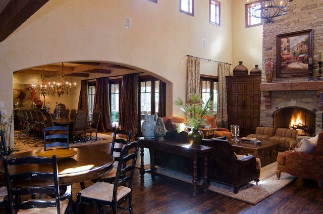 attractive living room of traditional french country home   Texas Hill Country Style traditional living room   French ...