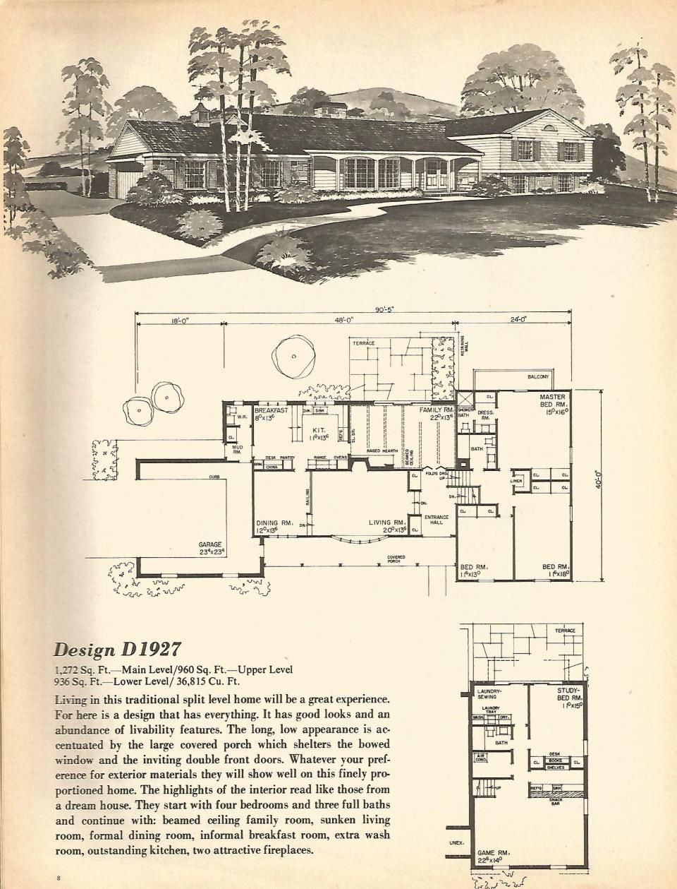 Vintage house plans, mid century homes, split level homes | Good Old ...