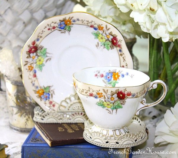 Vintage 1930s English Foley Floral Teacup: French Garden House