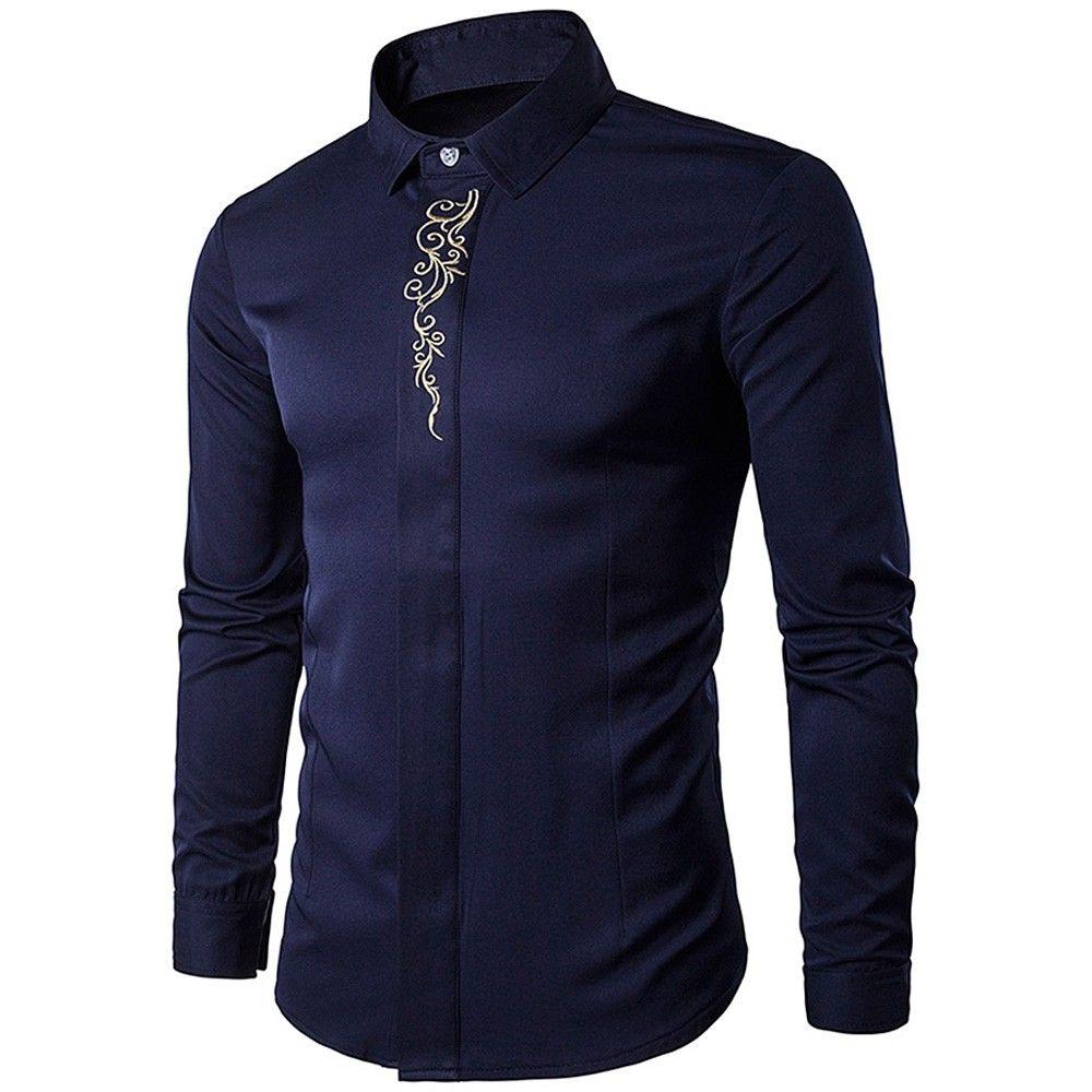 Turndown Collar Embroidered Long Sleeve Shirt - Purplish ...