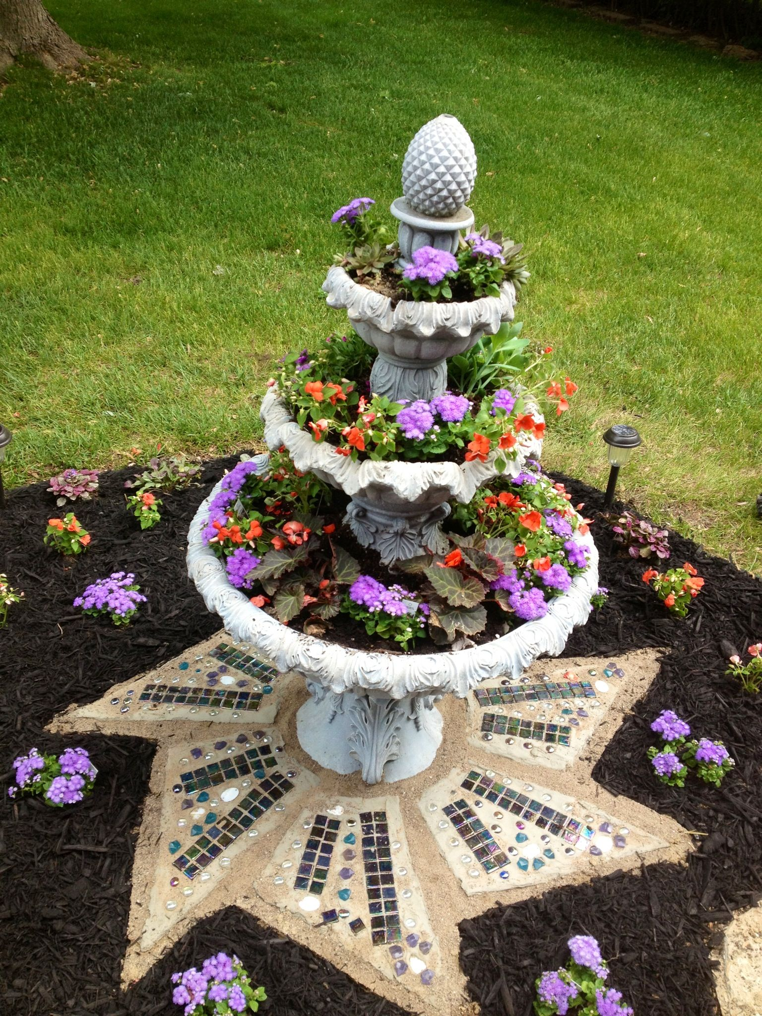 Garden fountain turned planter projects pinterest