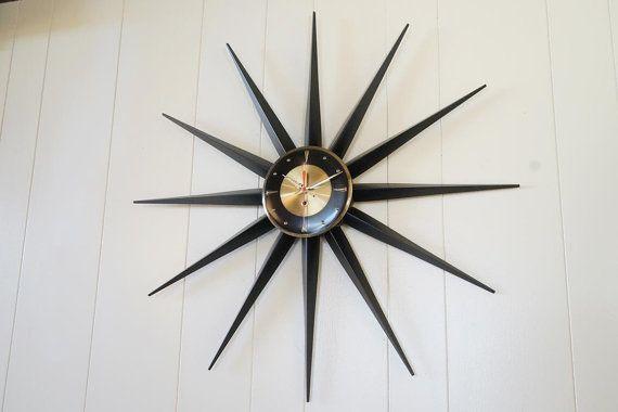 30 Vintage Starburst Wall Clock Welby Sunburst Atomic Eames Era Mid Century Modern 1950 S 60 S Clock Wall Clock Retro Clock