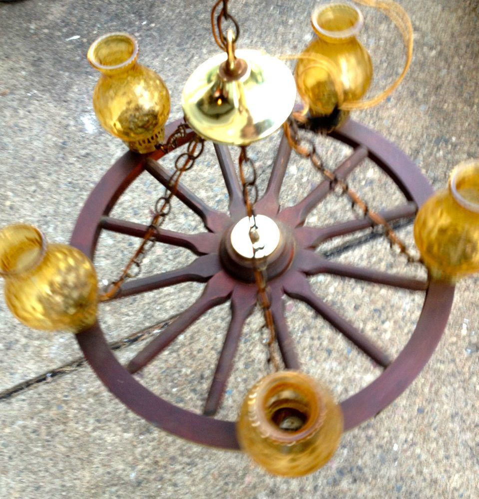 Vintage antique wagon wheel chandelier lamp 24 amber glass rustic vintage antique wagon wheel chandelier lamp 24 amber glass rustic western arubaitofo Image collections