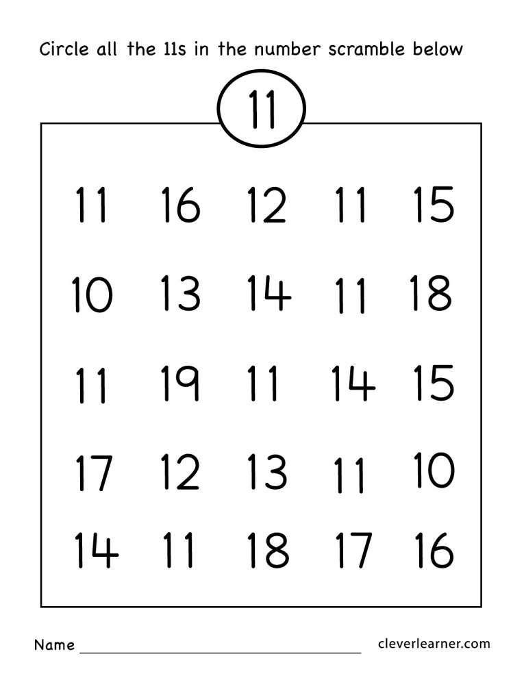 10 Number 11 Worksheet Kindergarten Numbers Preschool Preschool Math Worksheets Preschool Number Worksheets