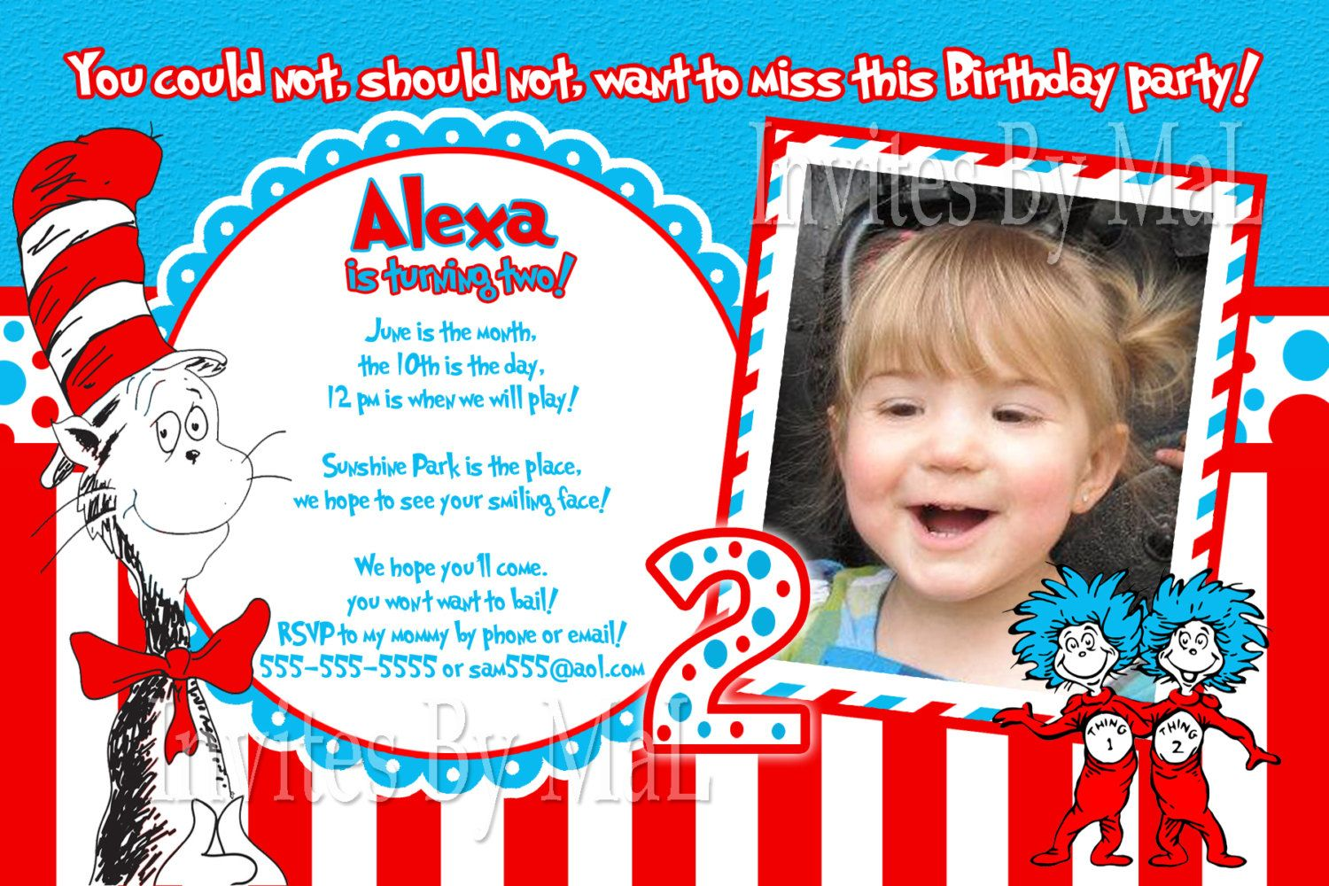 Cat In The Hat Birthday Invitations With Images