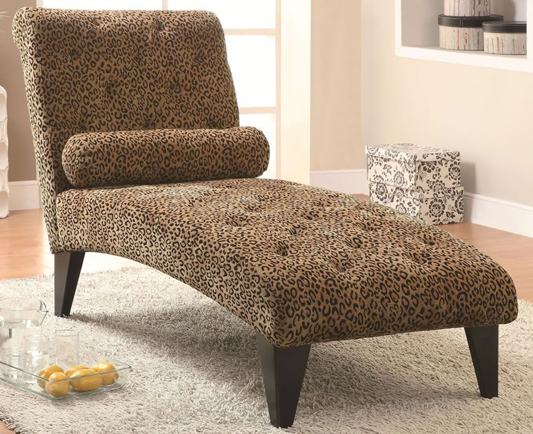 Coaster Leopard Print Living Room Armless Chaise In Black 902076 Lowest Price Online On All