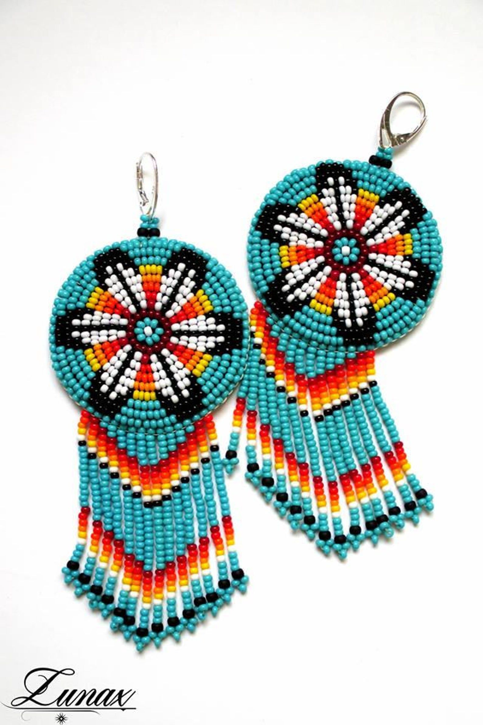 3 inch hand beaded Native American rosette necklace