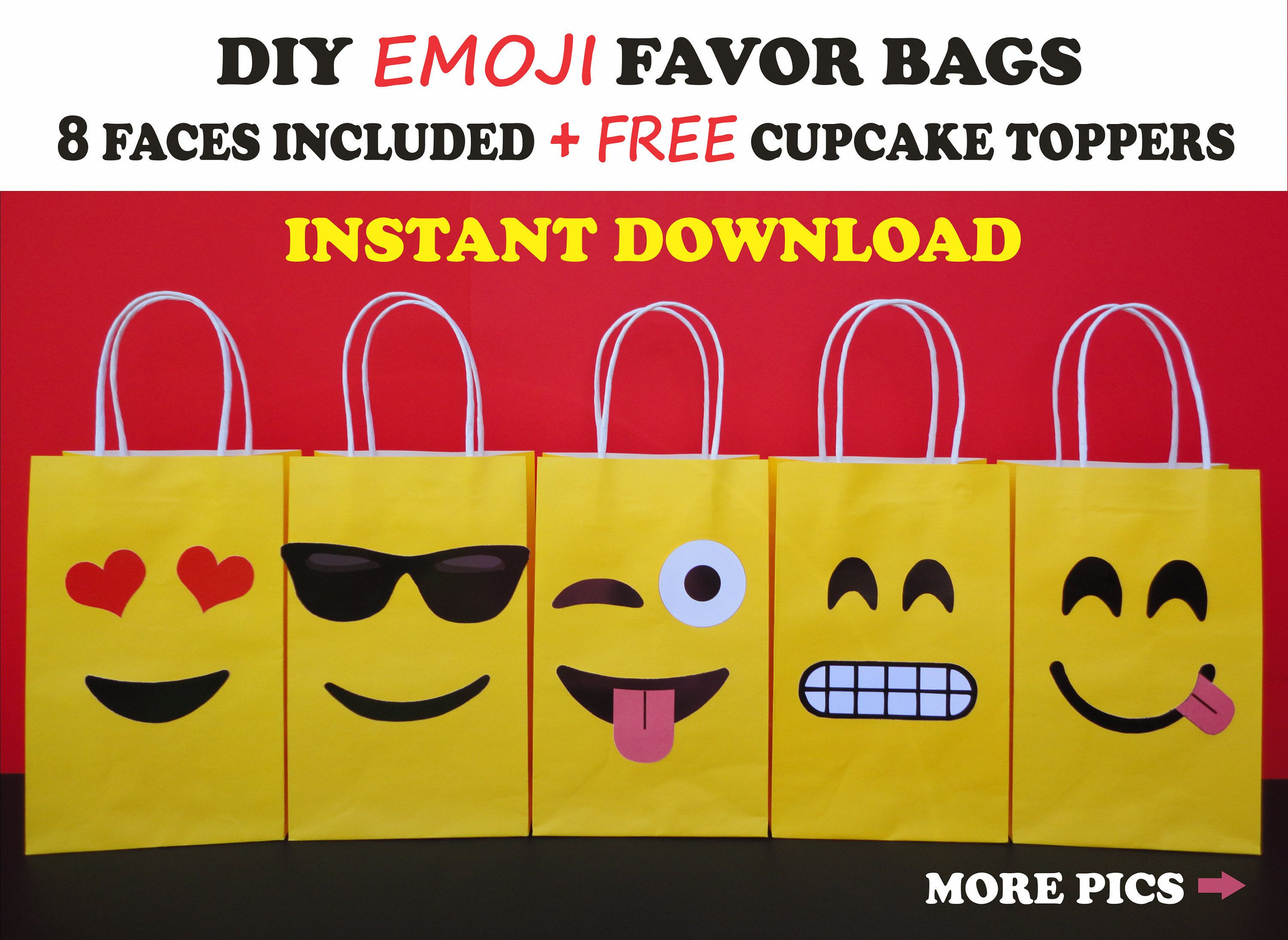 DIY Emoji FAVOR BAGS Party Bags Birthday