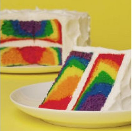 Rainbow cake. Recipe from Michael\'s using their cake mix, but you ...